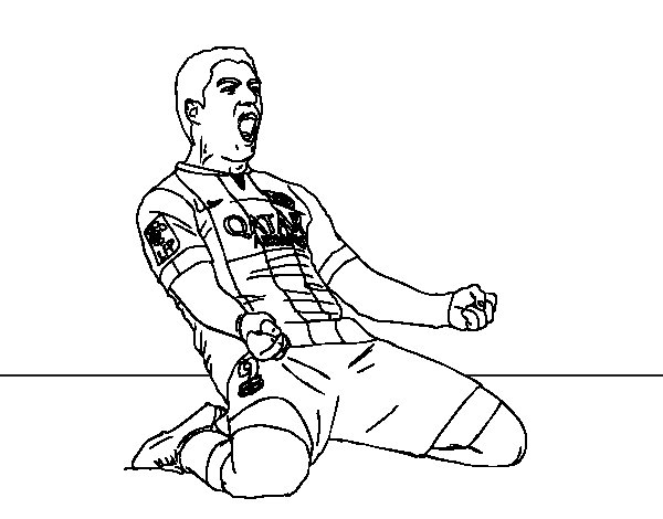 Luis Suárez Barça player coloring page