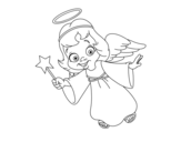 Magical Christmas angel coloring page