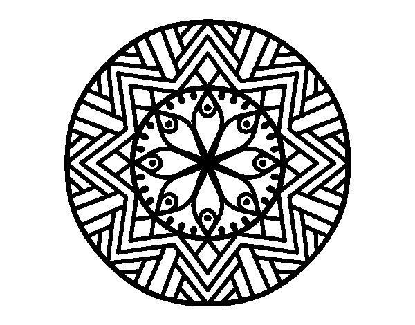 Mandala bamboo flower coloring page