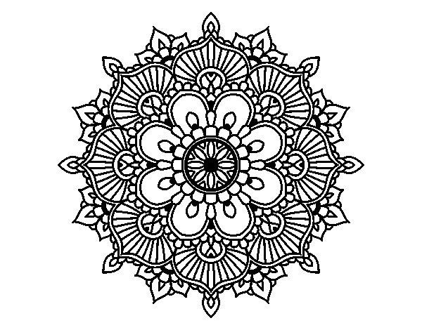 Mandala floral flash coloring page