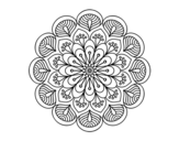 Mandala flower and sheets coloring page
