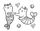 Dibujo de Mermaid cats