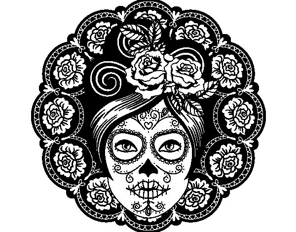 Mexican skull female coloring page
