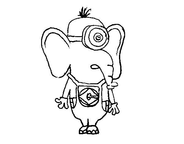 Minion Elephant coloring page