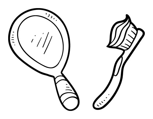mirror and toothbrush coloring page coloringcrew com