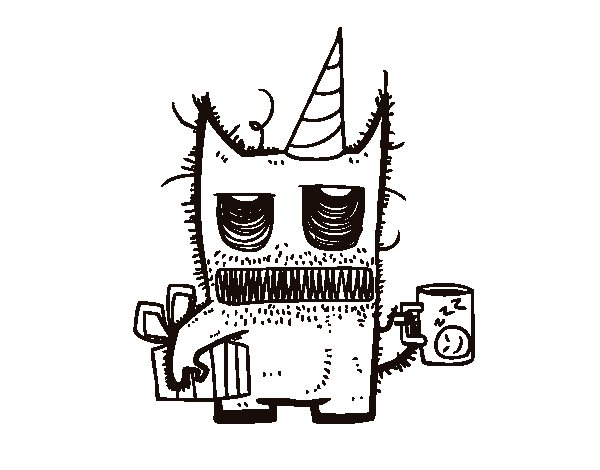 Monster birthday gifts coloring page
