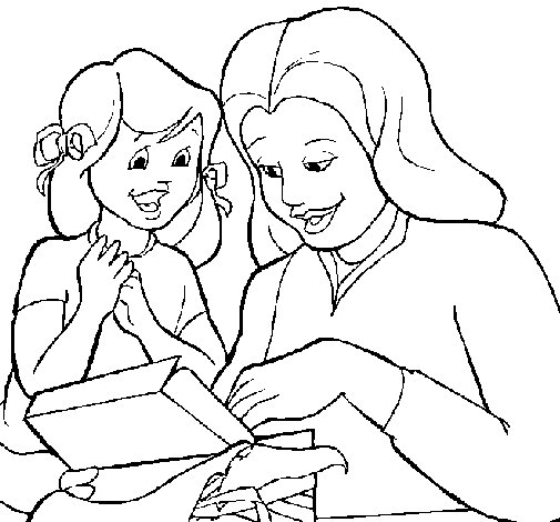 Mother and daughter coloring page - Coloringcrew.com