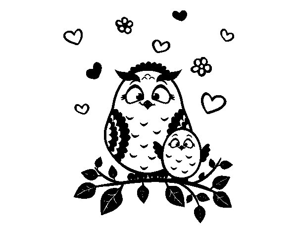 Mother owl coloring page