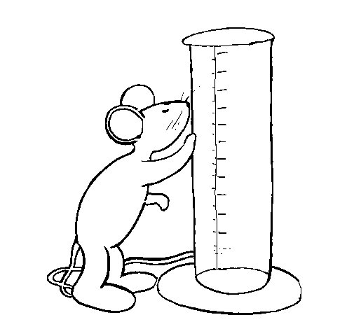 Mouse and test tube coloring page