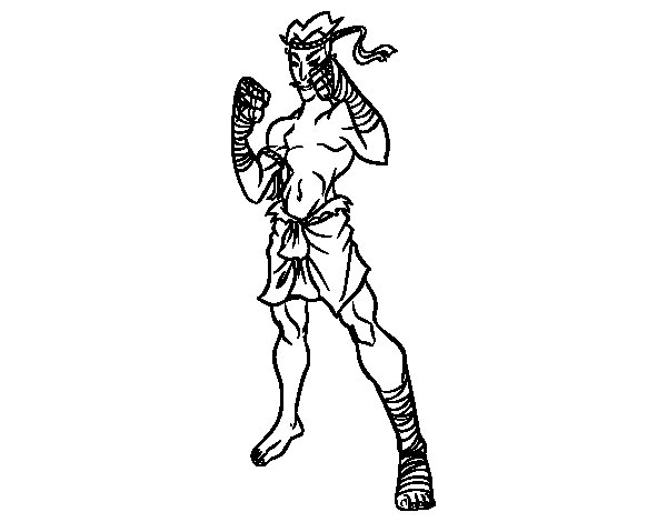 Muay Thai fighter coloring page