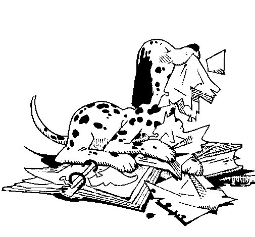 Naughty dalmatian coloring page
