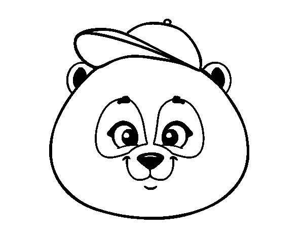 Panda face with hat coloring page