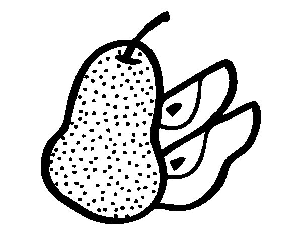 Pear cut coloring page