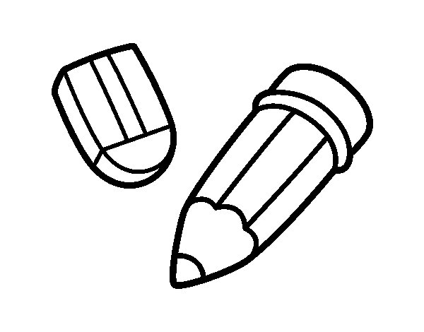 Pencil And Rubber Coloring Page