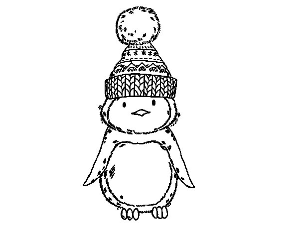 Penguin with winter cap coloring page