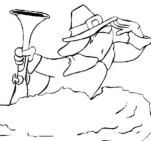 Pilgrim on the lookout coloring page