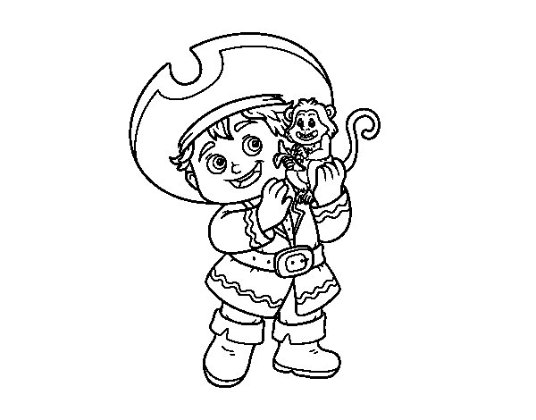 Pirate boy and his monkey pet coloring page