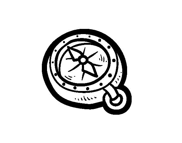 Pirate Compass Coloring Page