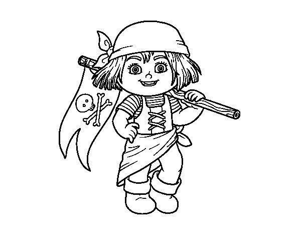 Pirate kid coloring page