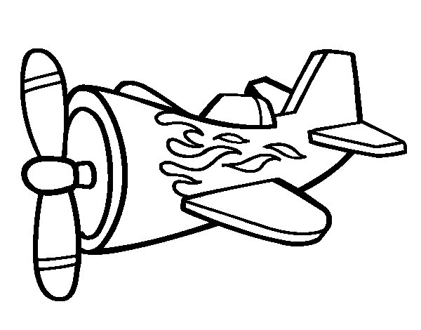 Plane with flames coloring page Coloringcrewcom