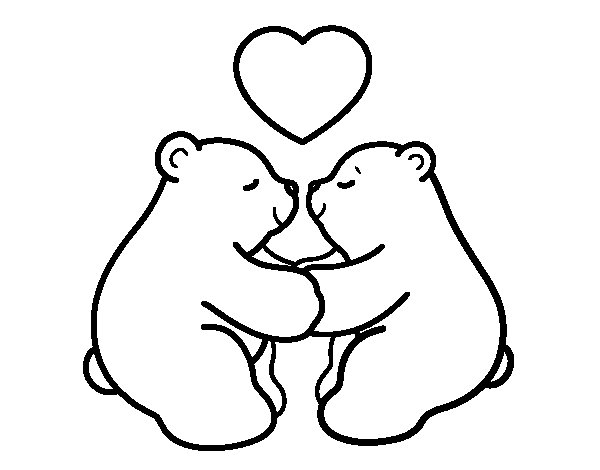 Polar Bears in love coloring page