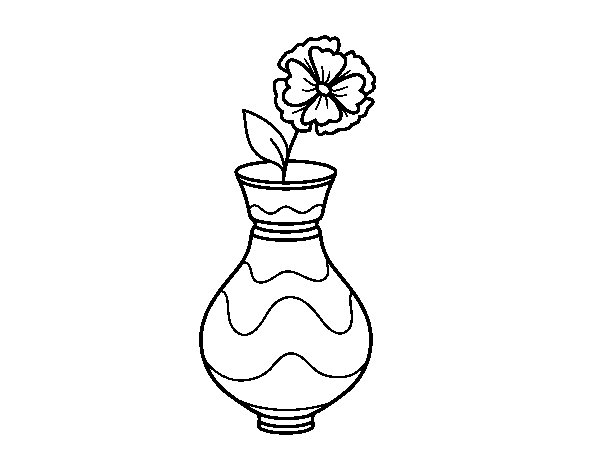 Poppy with vase coloring page