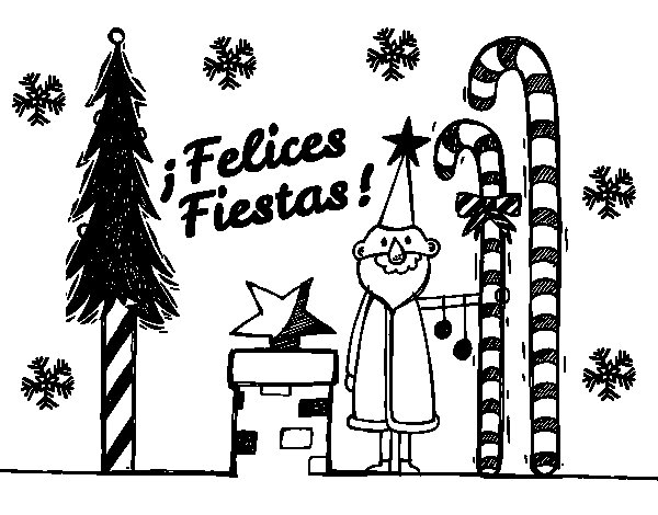 Postcard Happy Holidays coloring page