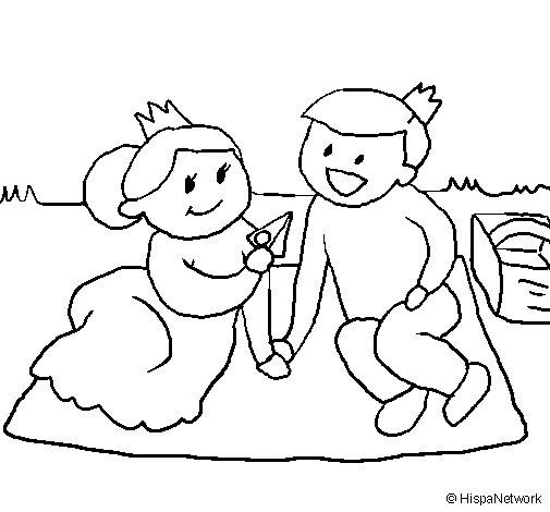 Prince and princess on picnic coloring page