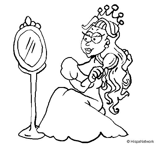 Princess and mirror coloring page