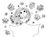 Princess of butterflies coloring page