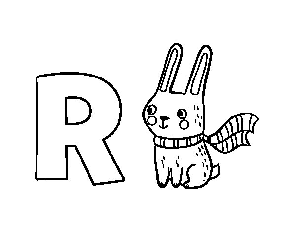 R of Rabbit coloring page
