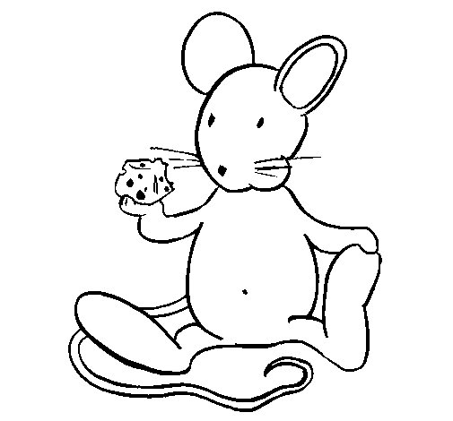 Rat with cheese coloring page