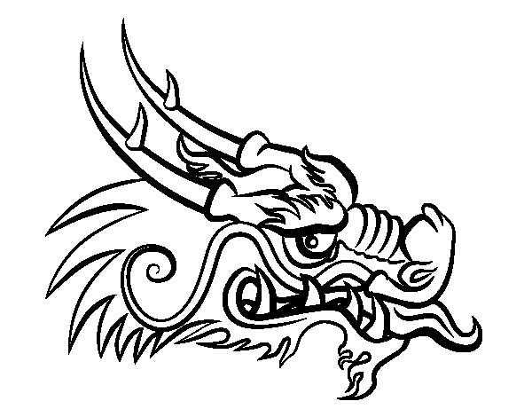 Red dragon head coloring page