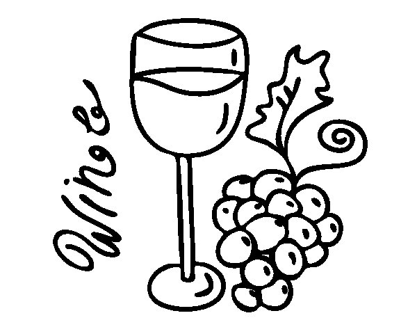 Red wine coloring page