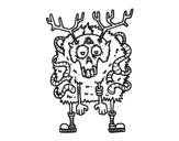 Reindeer zombie coloring page