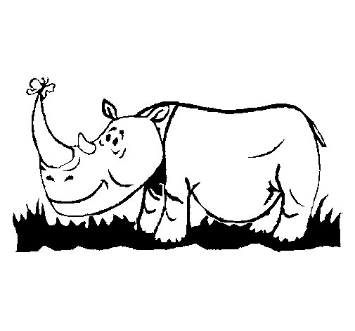 Rhinoceros and butterfly coloring page