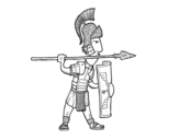 Roman soldier in defense coloring page