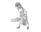 Roman soldier with sword coloring page