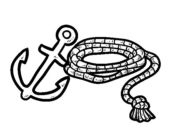 Rope and anchor coloring page