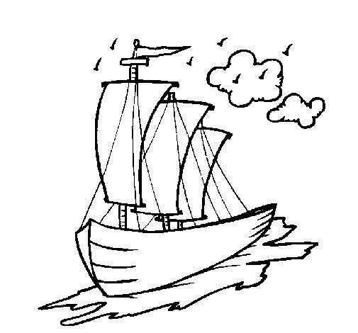 Sailing boat coloring page