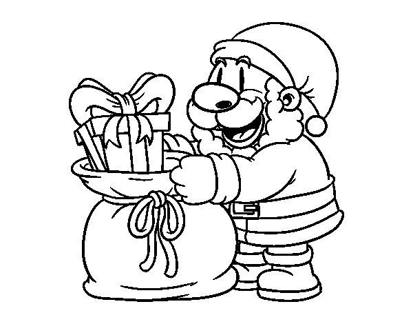 Santa Claus giving presents coloring page