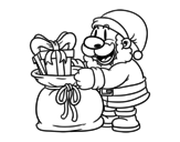 Santa Claus giving presents coloring page