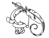 Santa Claus writing coloring page