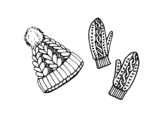 Set of gloves and hat coloring page