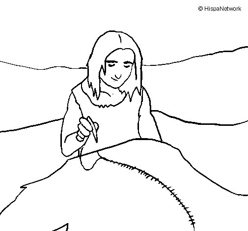 Sewing skins coloring page