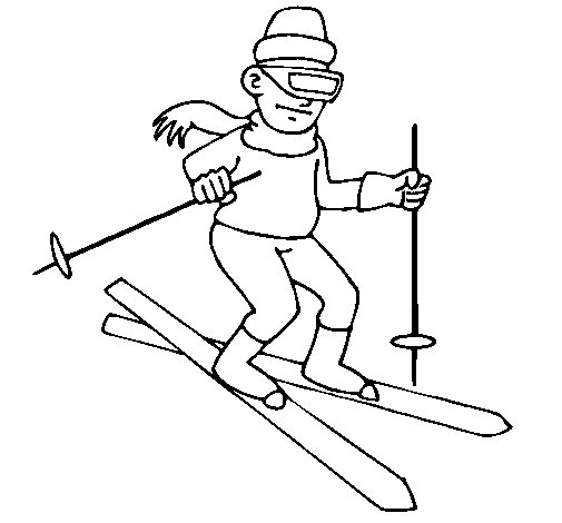 Skier II coloring page