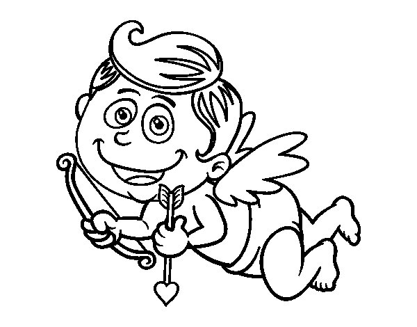 Smiling cupid coloring page