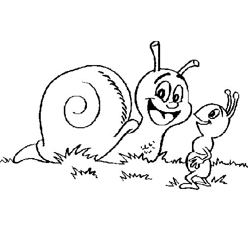 Snail and ant coloring page