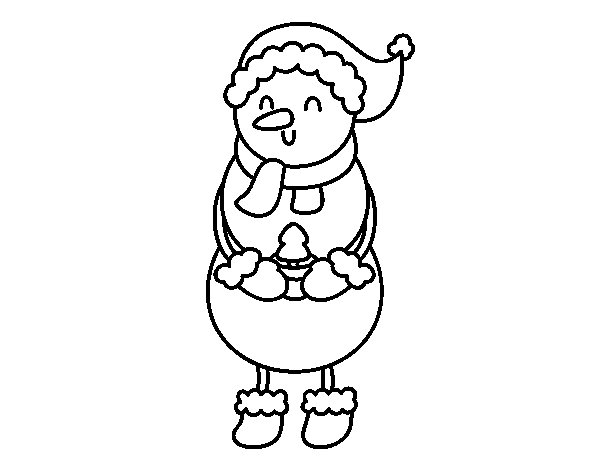 Snowman with a little tree coloring page