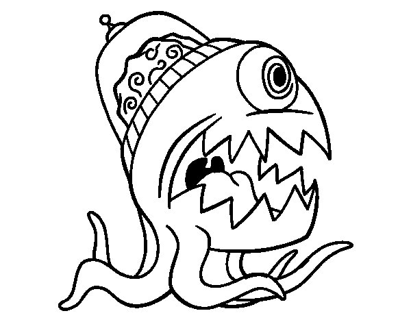 Space Octopus coloring page